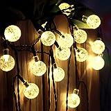 Lamker 30 LED Crystal Ball Solar Lichterketten Aussen Globe Lichter 20.8ft Wasserfest Gartenlicht für Weihnachtsbäume Terrasse Hochzeit Party Weihnachten Urlaub Haus Hochzeit Dekorationen Warmweiss