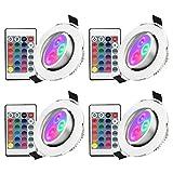Esbaybulbs LED Einbaustrahler schwenkbar RGB 5W Deckenstrahler Deckenspots 3Zoll vertiefte Beleuchtung Drahtlos Fernsteuerung Deckenleuchte mit LED-Treiber [4 Stück]