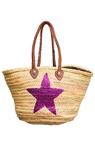 ORIGINAL Ibiza Tasche Korbtasche Strandtasche Celia 50cm Violett | Marokkanische Palmblatt Einkaufskorb Einkaufstasche geflochten XXL | Natur Shopper Umhängetasche für Damen und Herren aus Marokko