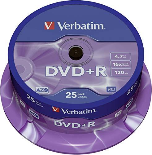 Verbatim 4.7GB DVD + R Matt Silber - 16-Brenngeschwindigkeit - hohe Lebensdauer - Kratzschutz - 25 Stück Spindel