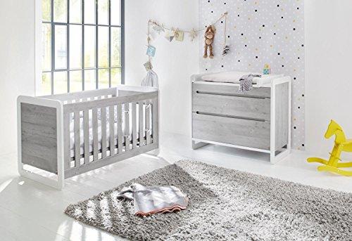 Preisvergleich Produktbild Pinolino 093440B 2-Teilig, Kinderbett, Breite Wickelkommode mit Wickelaufsatz, Edelmatt und Beschichtet, 140 X 70 cm, esche grau/weiß