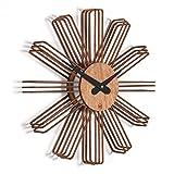 Wanduhr Estrella: Moderne Design Wanduhr aus Holz. Vollkommen geräuschlos für Wohnzimmer, Küche, Schlafzimmer, Flur und Büro Cognac