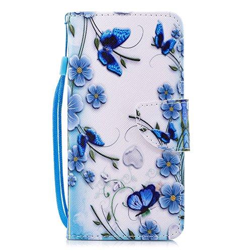 Klassikaline Wiko View Hülle, Wiko View (5,7 Zoll) Schutzhülle Tasche Handyhülle {Bunte Retro Muster Serie} - Blaue Blumen