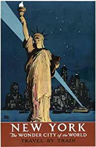 """TX120 Vintage New York Wonder City Of The World America Travel Poster Re-Print - A1 (841 x 610mm) 33"""" x 24"""""""