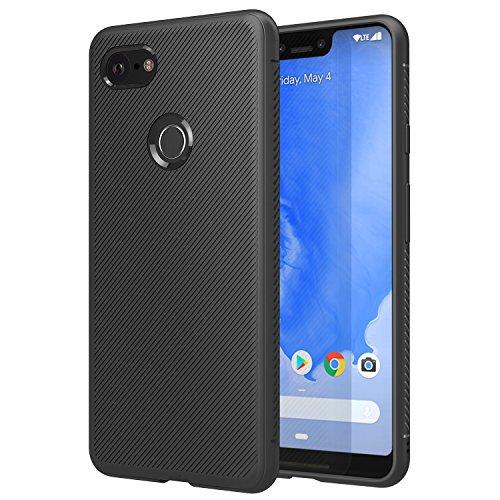 MoKo Google Pixel 3 XL Hülle, leicht, stoßfest, TPU Bumper Edge Twill Handyhülle für Google Pixel 3XL – Schwarz