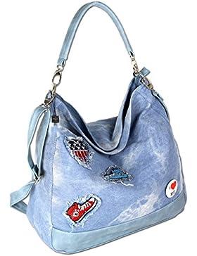Damen Schultertasche Handtasche Umhängetasche Shopper Stofftasche Groß Jeans  4529