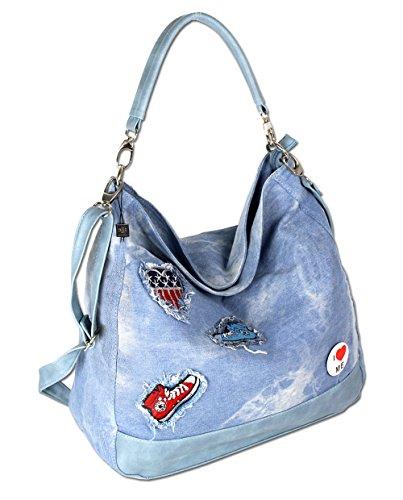 Damen Schultertasche Handtasche Umhängetasche Shopper Stofftasche Groß Jeans  4529 (Jean Große)