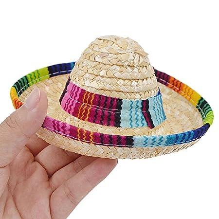 squarex Mehrfarbiger Sombrerohut für Hunde und Katzen, mexikanischer Strohhut mit verstellbarer Schnalle