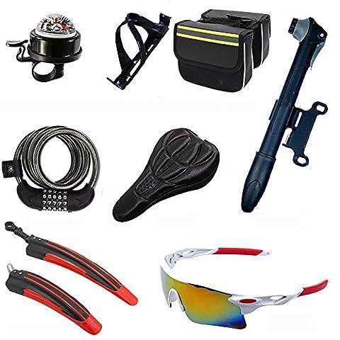 MIAO Accessoires de vélo Huit ensembles, y compris la boussole de compas, support de pot de PC, bagages, verrouillage anti-vol, ensembles de coussins, pompe portative, évasement, verres antidéflagrants