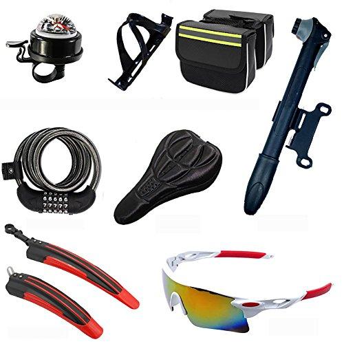 MIAO Fahrradzubehör Acht Sets, inkl. Kompass Bell, PC Pot Holder, Gepäckpaket, Passwort Anti-Diebstahl Schlösser, Kissen-Sets, Portable Pump, Fender, Explosionsgeschützte...