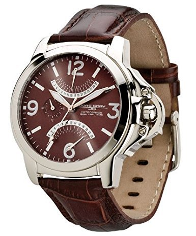Jorg Gray Uomini JG1850-13 serie 1850 in pelle Dual Time Brown cinturino marrone quadrante dell'orologio