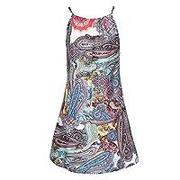 Woman Halter Bohemian Printed Sleeveless Mini Dress Casual Loose BOHO Sundress