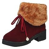 Stiefel Damen,❤️Binggong Damen Freizeitschuh Round-Toe Rutschfest Halten Sie die Warmen Mittleren Schneestiefel