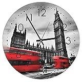 Feeby, Wanduhr, mehrfarbige Deco Panel Bild mit Uhr, Durchmesser 40 cm, LONDON, BIG BEN, GEBÄUDE, BUSSE, ROT, SCHWARZ-WEIß