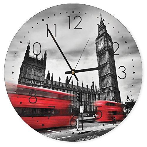 Feeby, Reloj de Pared, Multicolor Deco Panel con Reloj, diámetro 40 cm, Londres, Big Ben, Edificio, AUTOBUSES, Rojo, Blanco Y Negro