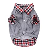 Dog Cat Grid Sweater Puppy Warm Coat T-Shirt Pet Clothes POLO Shirt Dog Apparel S M L XL