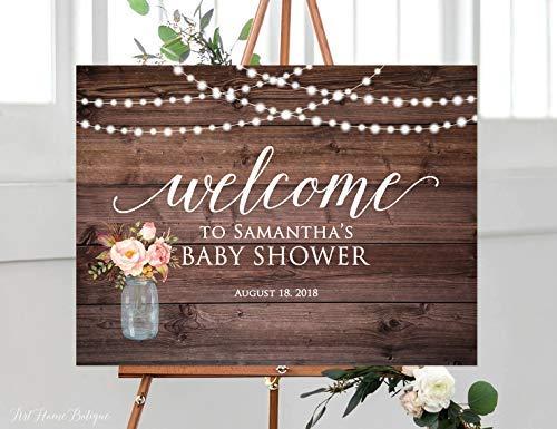 Bair89Pulla rustikales Schild für Babyparty, Willkommen auf Babyparty, horizontal, Querformat, Blush Pink, Lichterkette, Mason Jar, Mason Jar Restaurant