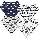 Baby Dreieckstuch Lätzchen Spucktuch 4er Pack für Jungen, Einstellbar Weiche Baumwolle Kerchief mit Druckknöpfen