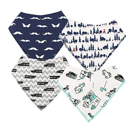 Preisvergleich Produktbild Baby Dreieckstuch Lätzchen Spucktuch 4er Pack für Jungen, Einstellbar Weiche Baumwolle Kerchief mit Druckknöpfen