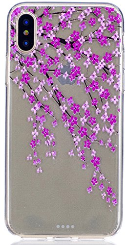 "Coque Iphone X Edition, Iphone X Case, Iphone X Coque, Iphone X Protection, Coque Iphone 10 euros, Nnopbeclik® ""Mignonne Motif"" Imprimé Colorful Style Flexible Protection en TPU Gel Silicone Soft/Doux FleurdePêche"