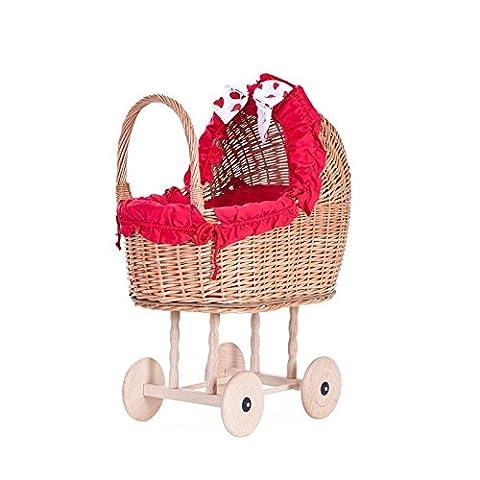 Electric WICKER2450/O Czerwień Doll's Pram Wicker Basket Honey Yellow, 48x 27x 55cm