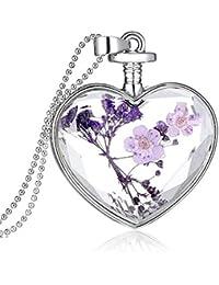 Collar de flores secas corazón botella de vidrio colgante Moda Nacional de estilo Accesorios de ropa