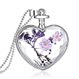 Collar de flores secas corazón botella de vidrio colgante Moda Nacional de estilo Accesorios de ropa regalo Bobury