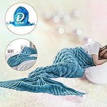 Mermaid Tail coperta per adulti e bambini, Crochet Snuggle Divano tiri liberi con pattern Knit, Soft Blanket Couch (Fish-scale Lago Blu, 74.8x 35.4 pollici)