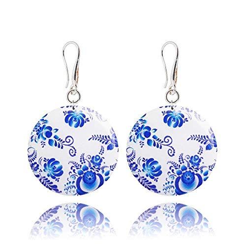 Handgefertigte Ohrringe in Blau und Weiß im Russischen Orientalisch-Stil für den Muttertag Geschenk