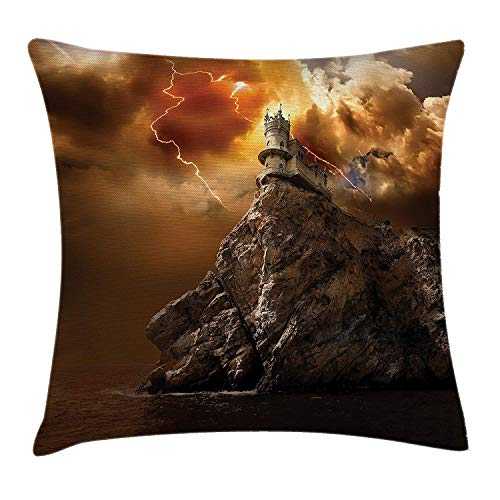Yinorz Landscape Throw Pillow Cushion Cover, Fantasy Castle on Top of Cliff with Lightning Supernatural Place Fiction Print, Decorative Square Accent Pillow Case, 18 X 18 inches, Orange Brown - Peach Knit Top