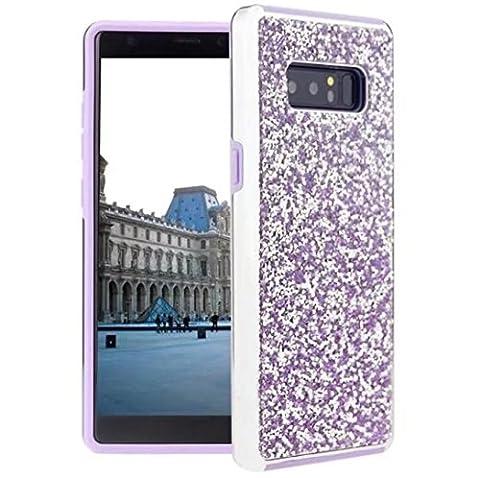 Galaxy Note8 Full Diamonds Coque, TAITOU Fashion Shiny Manual Diamante Crystal Bling Etui, Soft Plated Bumper Anti-Drop Ultralight Thin Phone Case for Samsung Galaxy Note8 Purple