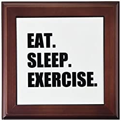 3dRose ft_180400_1 Eat Sleep Exercise. Gifts for Gym Bunny Or Keep Fit Fitness Enthusiast Framed Tile, 8 by 8-Inch