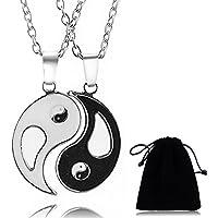 2pièces en acier inoxydable Yin Yang puzzle assorti Pendentif Couple Collier Saint Valentin Cadeau de Noël avec chaîne de 50,8cm