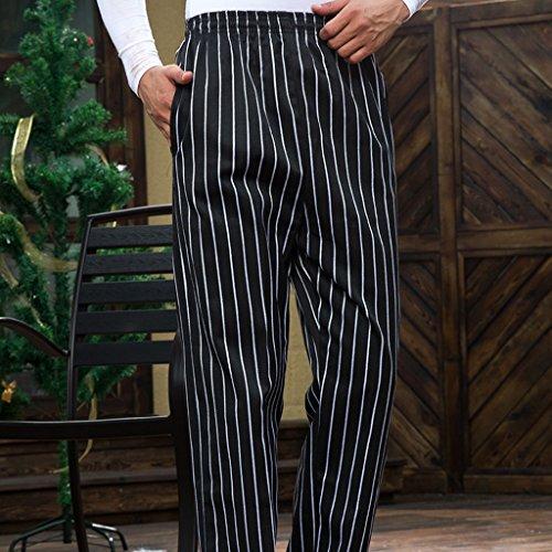 MagiDeal Chef Koch Hosen Elastischer Bund gestreift Arbeitskleidung 3 Muster Größen: M, L, XL,2XL,3XL,4XL - Stil 2, M - 3