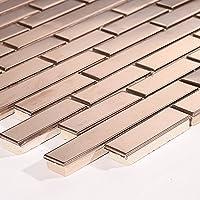10cm x 10cm Patrón Cepillado Acero inoxidable mosaico pared azulejos hojas aspecto de cobre (mt0170patrón)