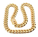 SMACO Kubanische Bordsteinkante von Strassstein Miami Cuban 14mm Goldene Herren-Schmuck-Halskette,26INCH