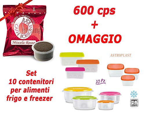 600 capsule caffe borbone point compatibili lavazza espresso point - miscela rossa + set 10 contenitori da frigo/freezer