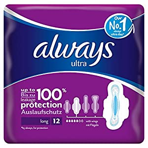 Always Ultra Long Plus Sanitary Towels with Wings - Single Packs (12 Pads)