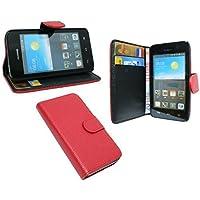 Praktische Buch-Tasche für Huawei Ascend Y330 in Rot Wallet Book-Style @ Energmix