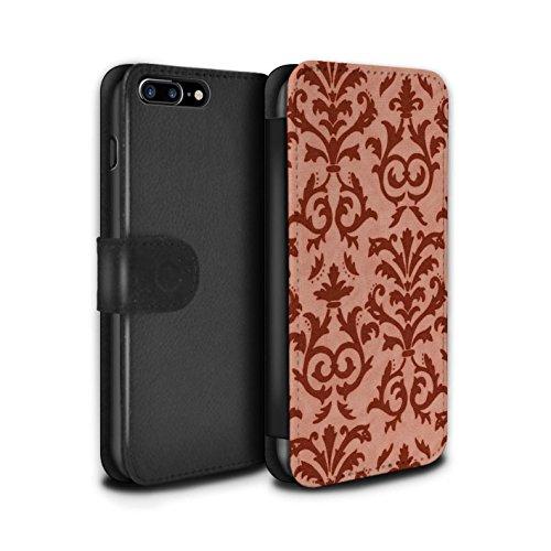 Stuff4 Coque/Etui/Housse Cuir PU Case/Cover pour Apple iPhone 7 Plus / Rose Design / Motif de défilement Collection Rouge