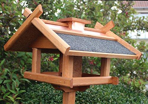 Vogelhaus mit Ständer Kupferdach Futtersilo 155cm - 2