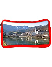 Snoogg Eco Friendly Canvas Houses And Bridge Near The Lake Designer Student Pen Pencil Case Coin Purse Pouch Cosmetic...