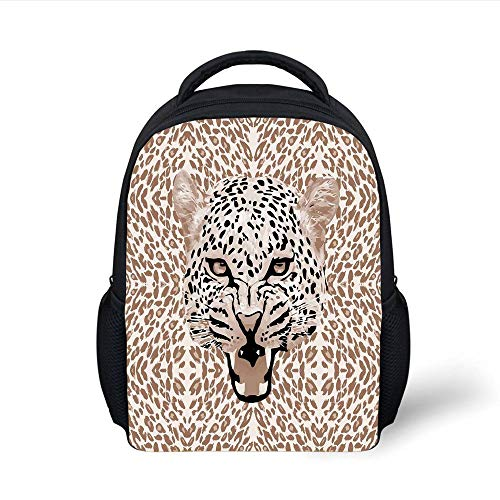 Plain Rosette (Kids School Backpack Modern,Roaring Leopard Portrait with Rosettes Wild African Animal Big Cat Graphic,Cocoa Beige Black Plain Bookbag Travel Daypack)
