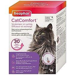 Beaphar - Catcomfort, Diffuseur et recharge anti stress aux Phéromones - Chat - 1 prise et 1 recharge de 30 jours