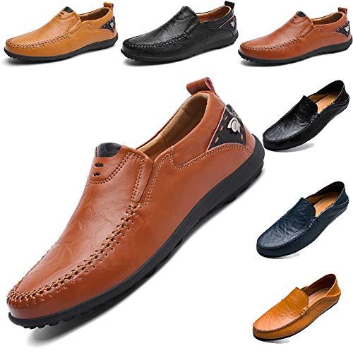 LSGEGO Herren Mokkasins Slip on Casual Männer Loafers Frühling und Herbst Herren Mokassins Schuhe aus echtem Leder Herren (42, Braun-11)