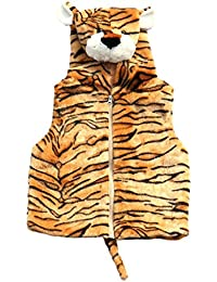 Children's Soft Feather Edge Fleece Hooded Tiger Design Gilet/Body Warmer. (S/M)