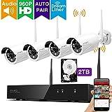 [Dream Liner Wifi Relais] Xmarto 8canaux 960p HD Système de caméra de sécurité sans fil avec 4x 960p 1,3mégapixels Intérieur/extérieur Wifi Caméras (NVR Intégré routeur, Auto-pair, 24,4m IR, sans disque dur)