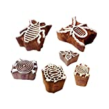 #10: Textile Print Blocks Stylish Insect Bee Pattern Wooden Stamps (Set of 6)