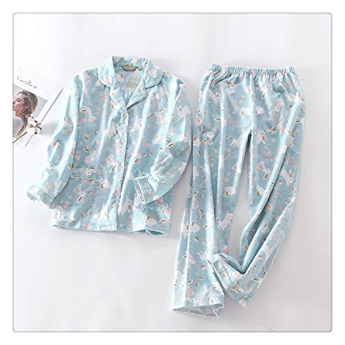 Korea Cute Cartoon 100% Cotton Pyjamas Women Pajamas Sets Autumn 100% Brushed Cotton Winter warm Women Sleepwear Pijamas Mujer TZ S