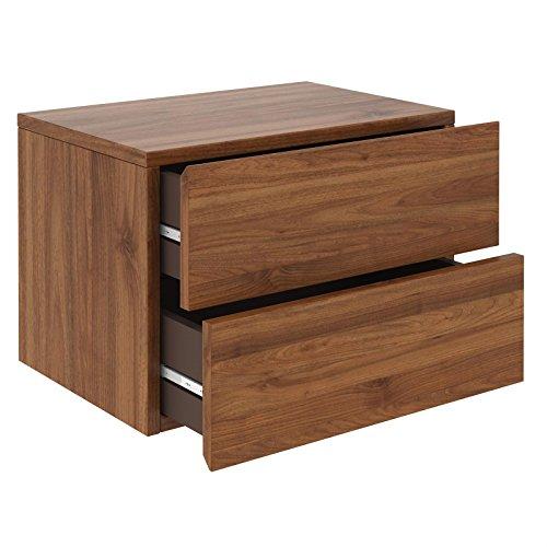 CARO-Möbel Nachtkommode ANNI Nachttisch Nachtschrank hängend Wandregal mit 2 Schubladen in nussbaum -